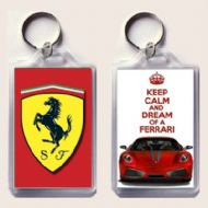 KEEP CALM and DREAM OF A FERRARI with a Ferrari F430 & Ferrari Badge Keyring